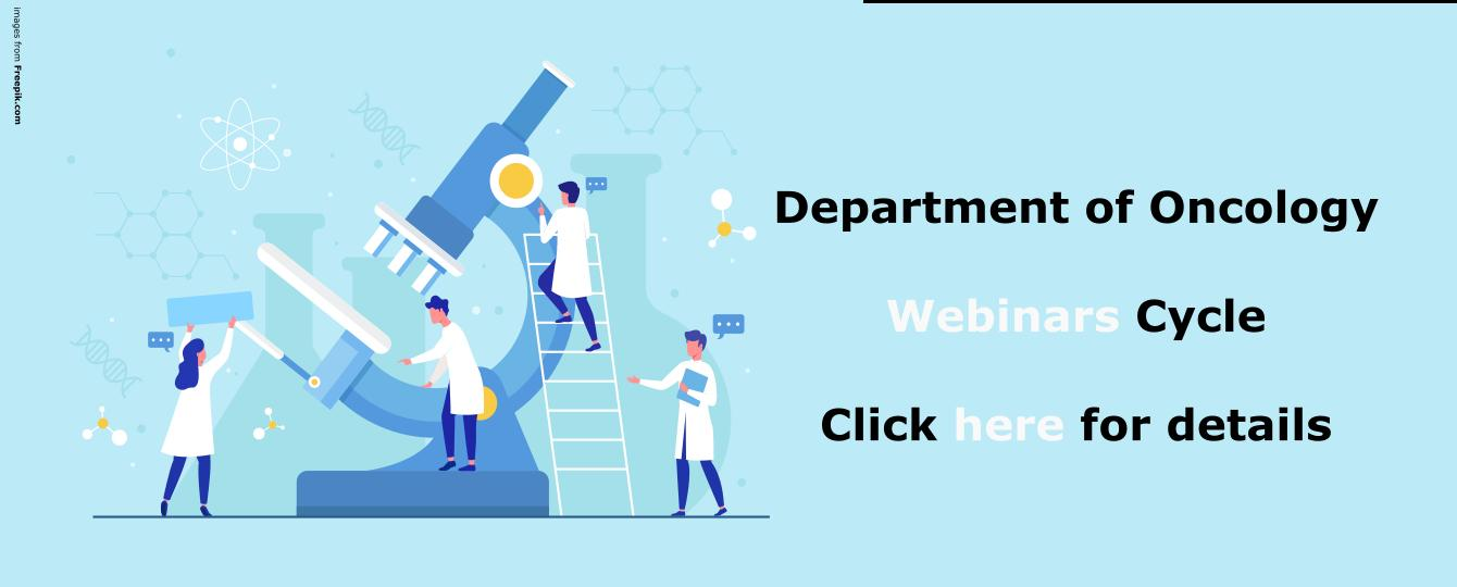 Webinars cycle from the Department of Oncology